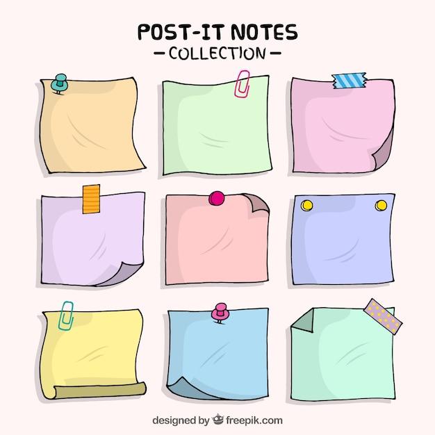 Notas adesivas desenhados à mão Vetor Premium