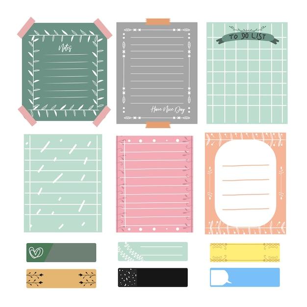 Notas bonitinhas e diário. conjunto de cartões de vetor romântico e bonito, notas, adesivos, etiquetas. Vetor Premium