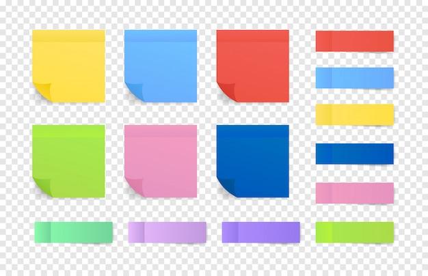 Notas coloridas pegajosas. postar papel de nota. ilustração. Vetor Premium