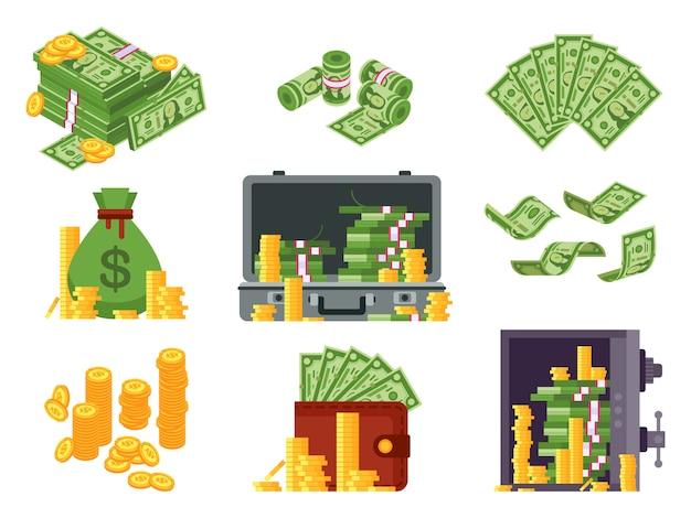 Notas de dinheiro. saco de dinheiro, carteira de notas e dólares heap no cofre. muitas pilhas de dólares e moedas de ouro isométricas Vetor Premium