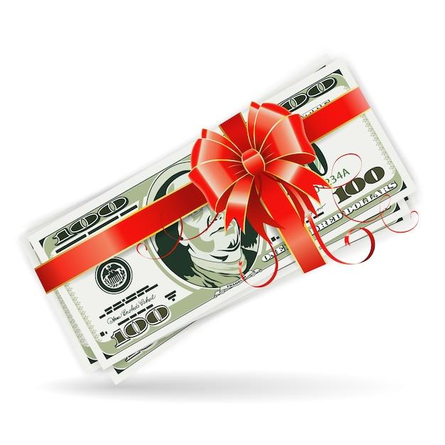 Notas de dólar com fita e arco Vetor Premium