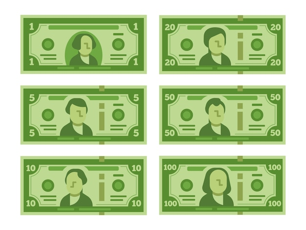 Notas de dólar dos desenhos animados. conjunto Vetor Premium