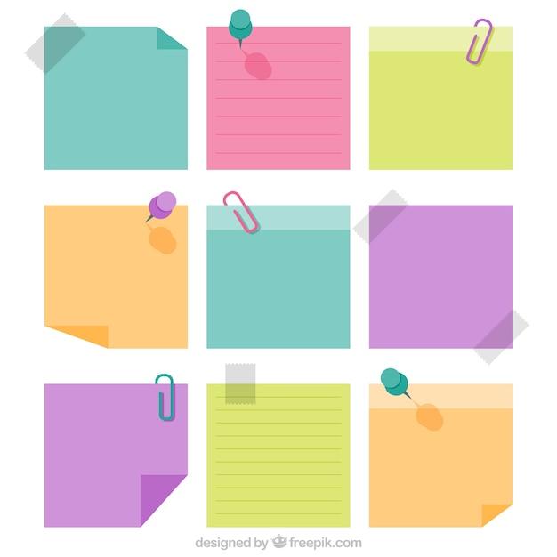Notas de papel decorativas em cores pastel Vetor grátis