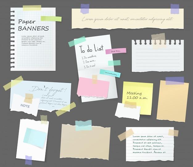 Notas de papel, quadro de mensagens memorando em adesivos Vetor Premium