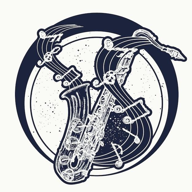 Notas de saxofone e música Vetor Premium