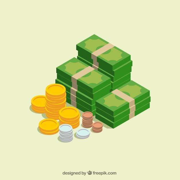 Notas e moedas no desenho isométrico Vetor Premium