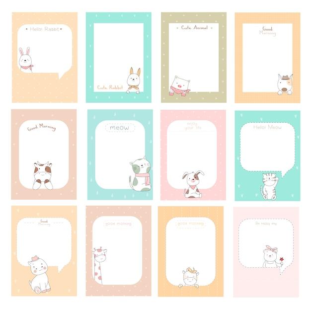Notas fofas com estilo de mão desenhada cartoon bebê fofo animal Vetor Premium