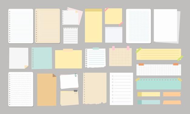 Notas grandes e página de recados da escola de elemento de papel Vetor Premium