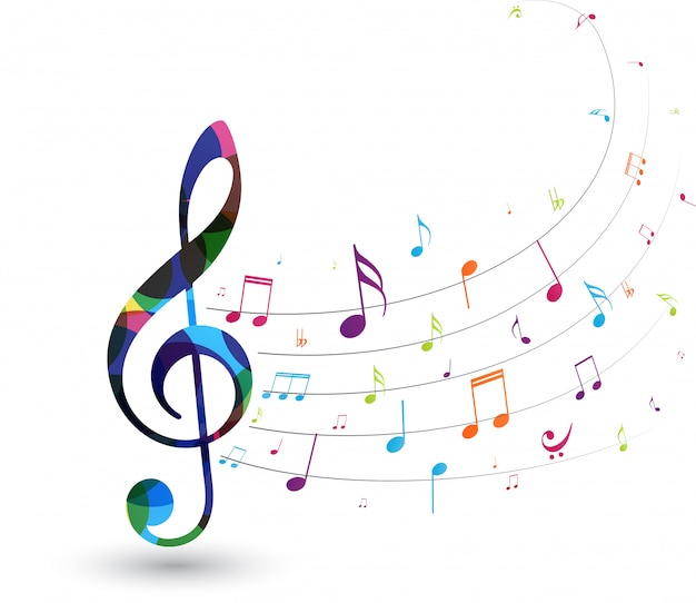 Notas musicais coloridas Vetor Premium