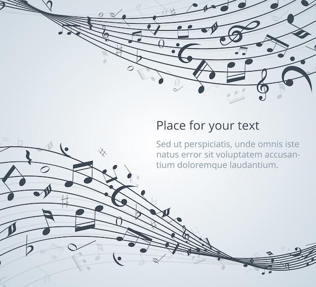 Notas musicais de fundo vector com espaço para seu texto Vetor grátis