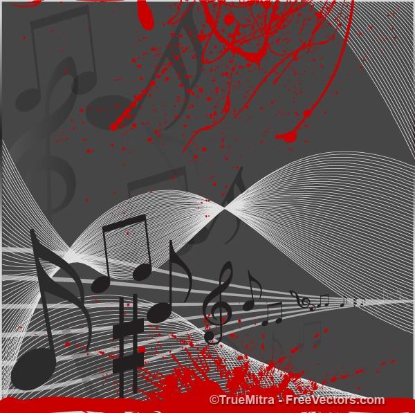 Notas musicais em que flui stave com splatter vermelho Vetor grátis