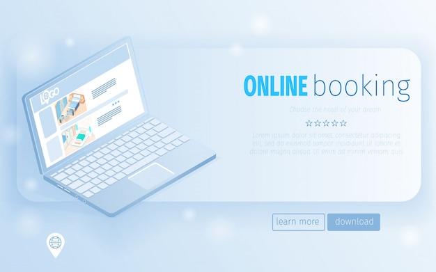 Notebook com ilustração de tela de oferta de quarto de hotel Vetor Premium