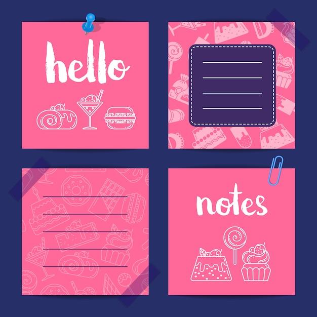 Notes templates set com ícones de doces de estilo linear e plana Vetor Premium