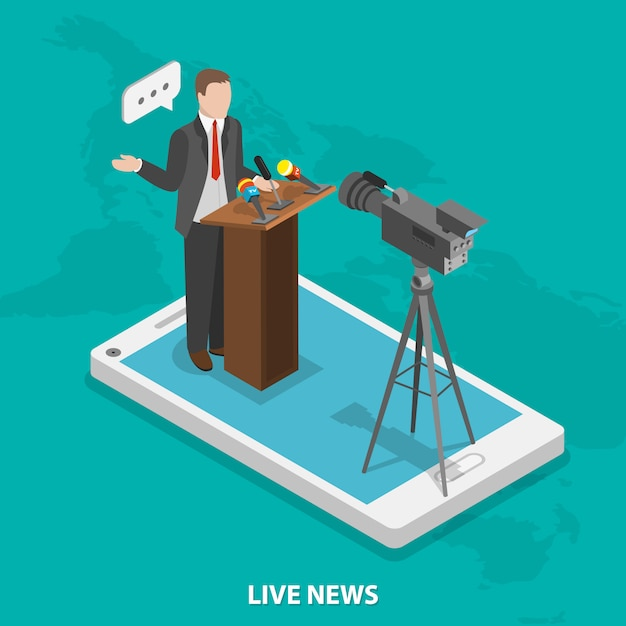Notícias ao vivo móveis. Vetor Premium