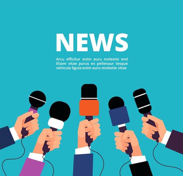 Notícias com microfones. banner de transmissão, entrevista e comunicação com handa segurando microfones Vetor Premium