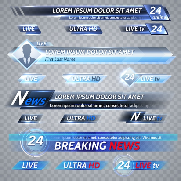 Notícias de tv e streaming de vetor banners de vetor. ilustração da bandeira de fluxo de vídeo, cartaz de mídia para transmissão de tv Vetor Premium
