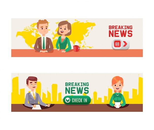 Notícias de última hora no aparelho de televisão. Vetor Premium