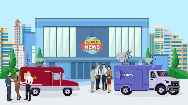 Notícias do mundo construindo, repórter em pé perto do carro da tv, ilustração de caminhão. Vetor Premium