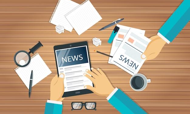 Notícias e jornalismo conceito Vetor Premium