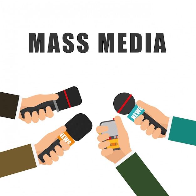Notícias e transmissão de notícias Vetor Premium