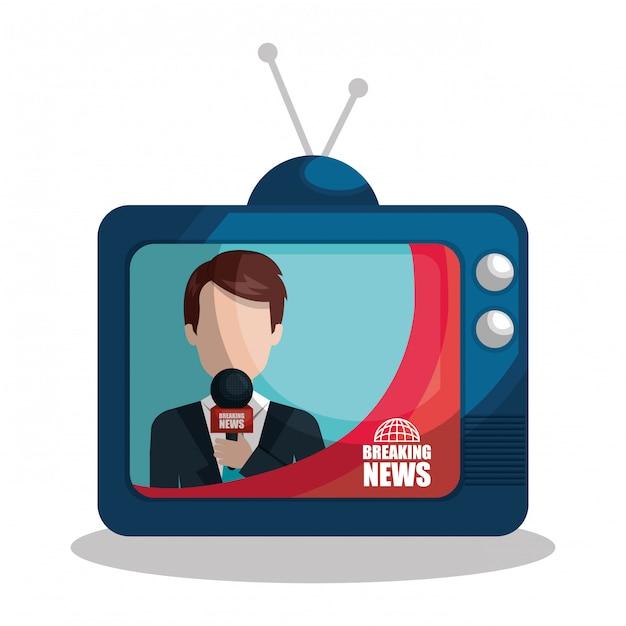 Notícias em uma ilustração de tv Vetor grátis