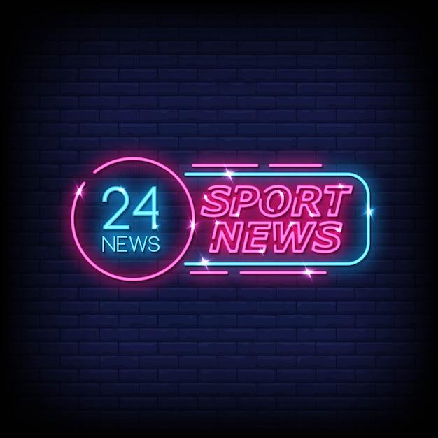 Notícias esportivas neon signs style text Vetor Premium