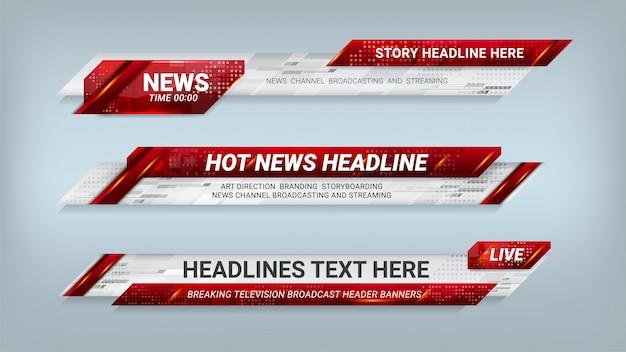 Notícias lower thirds banner para televisão Vetor Premium