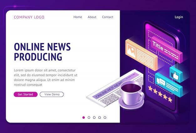Notícias on-line produzindo página da web de aterrissagem isométrica Vetor grátis