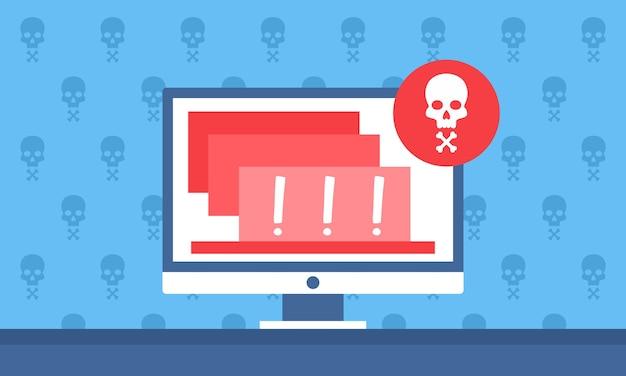 Notificação de alerta de perigo no computador para website banner a Vetor Premium