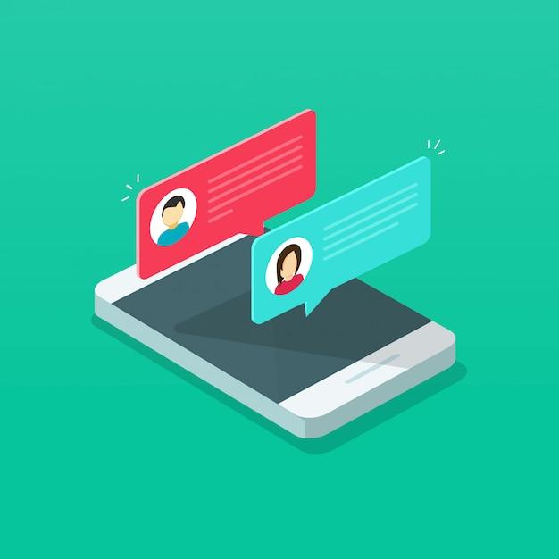 Notificação de mensagens de bate-papo ou bolhas sms no celular ou telefone celular isométrico Vetor Premium