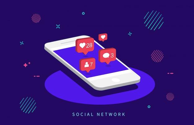 Notificações de mídia social. Vetor Premium