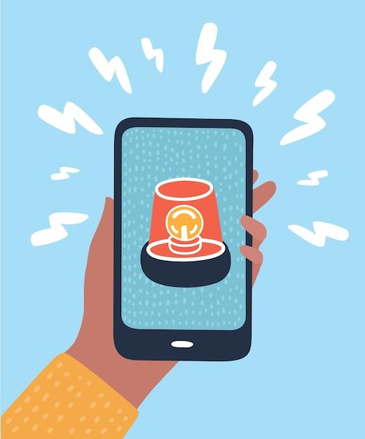 Notificações de telefone, novos conceitos de mensagem recebida. mão segurando o smartphone com balão e ícone de ponto de exclamação. elementos gráficos modernos. desenho de longa sombra. ilustração Vetor Premium
