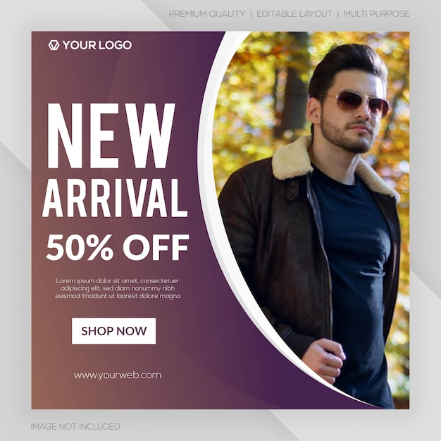 Nova chegada venda instagram post template premium Vetor Premium