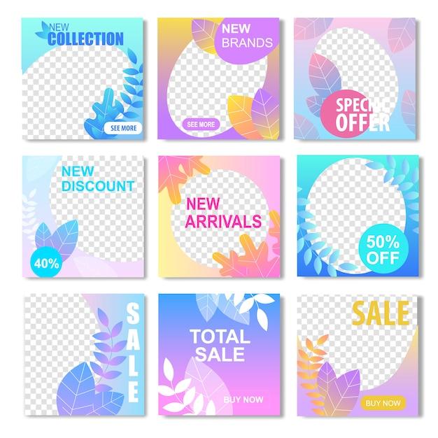 Nova coleção marca desconto chegada oferta especial total sale banner Vetor Premium