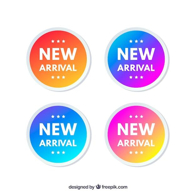 Nova colecção de etiquetas de chegada Vetor grátis