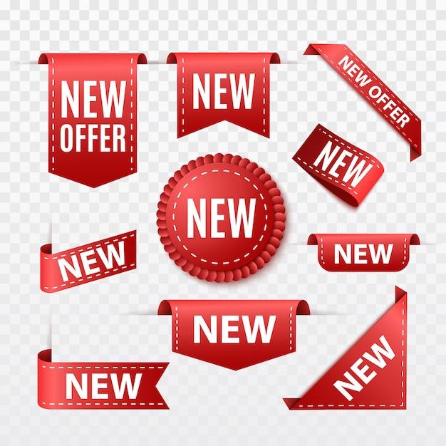 Nova etiqueta de venda de oferta. fita vermelha banner isolado. crachá ou rótulo de vetor Vetor Premium