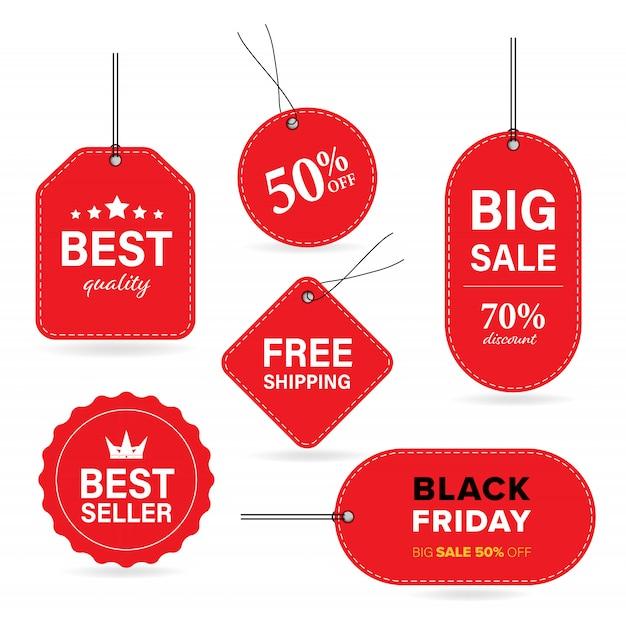 Nova etiqueta vermelha etiqueta e venda banner vector com preço especial e sexta-feira negra e libera shippping. Vetor Premium
