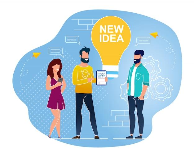 Nova idéia é escrita na lâmpada plana cartoon plano Vetor Premium