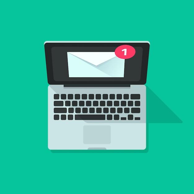 Nova mensagem de notificação de e-mail no computador portátil vector plana dos desenhos animados Vetor Premium
