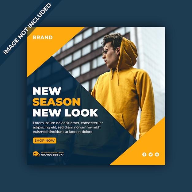 Nova temporada, novo visual, banner de venda de mídia social e postagem no instagram Vetor Premium