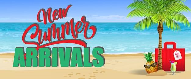 Novas chegadas de verão, grande banner de venda. bebida fria, abacaxi, óculos de sol, palma, saco vermelho Vetor grátis