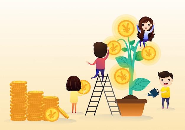 Novas idéias, pessoas pequenas lançam um mecanismo. Vetor Premium