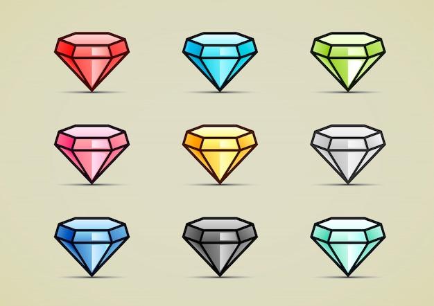 Nove diamantes coloridos Vetor Premium
