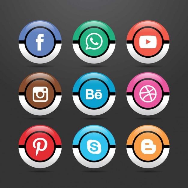 Nove ícones para redes sociais Vetor grátis