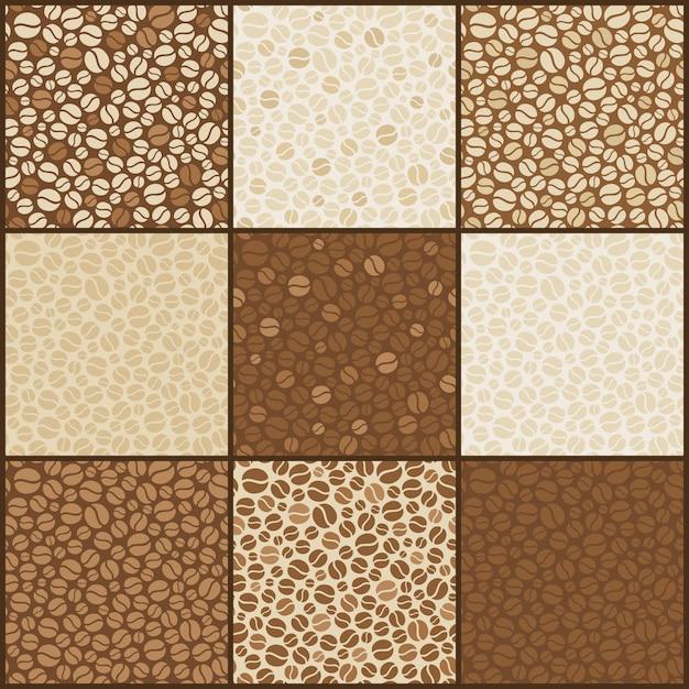 Nove padrões de grãos de café sem emenda Vetor Premium