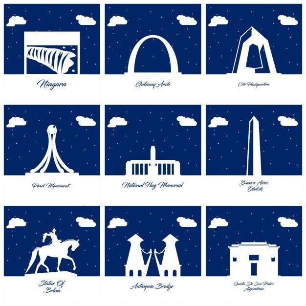 Nove silhuetas de monumentos Vetor grátis