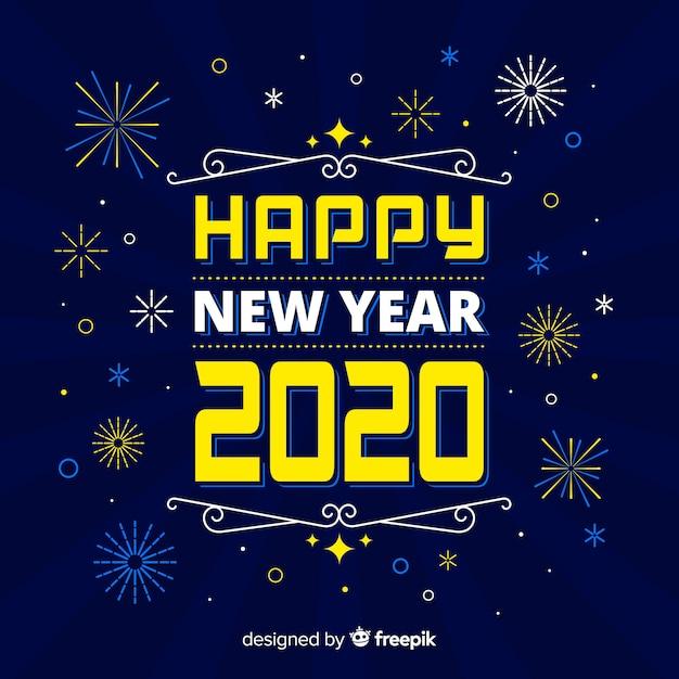 Novo ano 2020 em design plano Vetor grátis