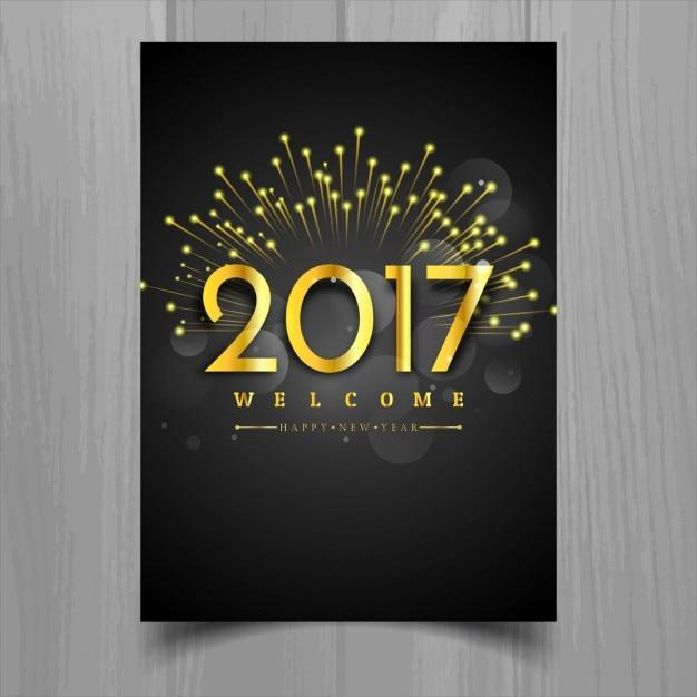 Novo ano de 2017 brochura Vetor grátis