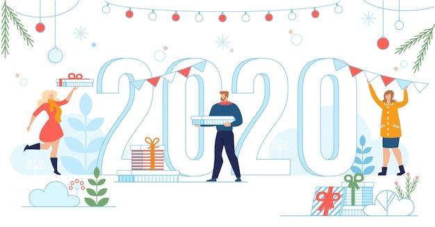 Novo banner de comemoração do ano 2020 em estilo simples Vetor Premium