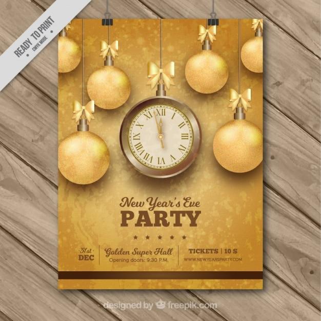 Novo cartaz do partido do ano com bolas douradas Vetor grátis